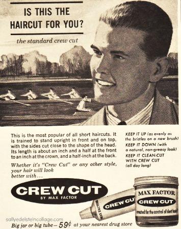 Vintage illustration 1960s teen boy hair atyle