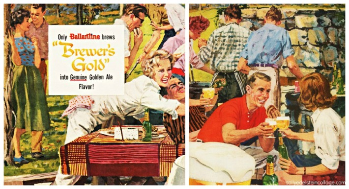 Vintage illustration suburban barbecue 1950s