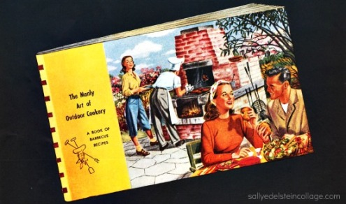 Vintage illustration suburban barbecue 1948