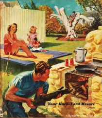 vintage illustration backyard suburban family at barbecue