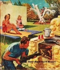 vintage illustration backyard suburban family at barbecue