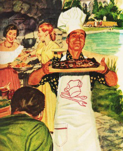 Vintage illustration suburban barbecue man in chefs hat