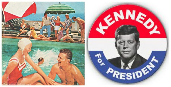 vintage ad, swimming pool, vintage campaign button JFK 1960