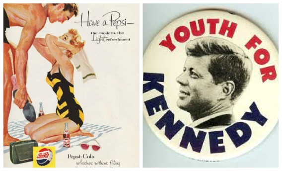 vintage illustration 1950s couple on beach and old JFK campaign button
