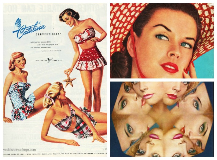 collage of vintage fashion swimwear vintage illustration 1950s 60s
