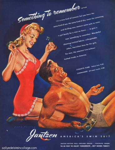 vintage illustration Jantzen swimsuit ad men and woman in bathing suit