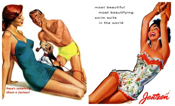 vintage Illustration 1950s women bathing suits