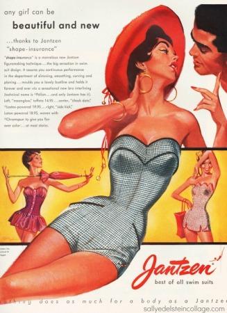 Vintage illustration swimsuit model 1950s Pete Hawley Illustrator