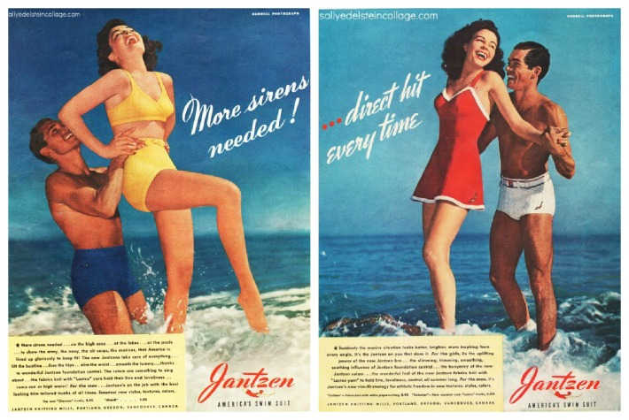 vintage ad 1940s men and women in swim suits in ocean