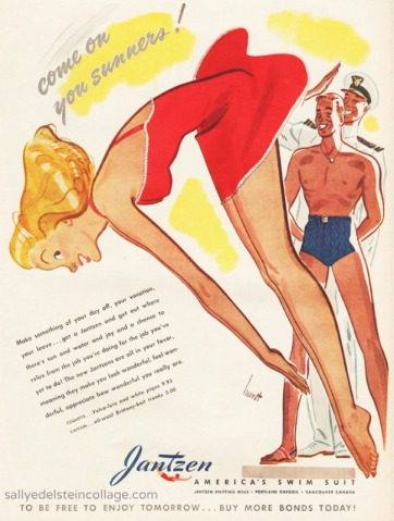 Vintage illustration 1940s woman diving as soldiers watch