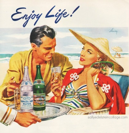 Vintage illustration couple on beach being served drinks 1950s
