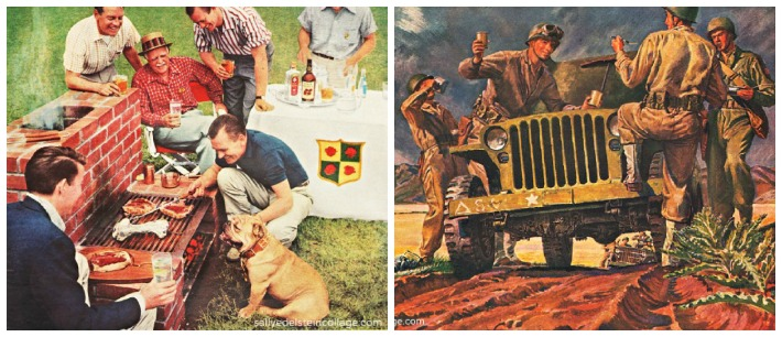 vintage image 1950s backyard barbecue and WW2 soldiers vintage illustration