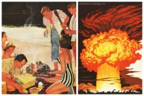(L)Vintage Ad Beer belongs 1950s (R) Vintage illustration Atom Bomb blast