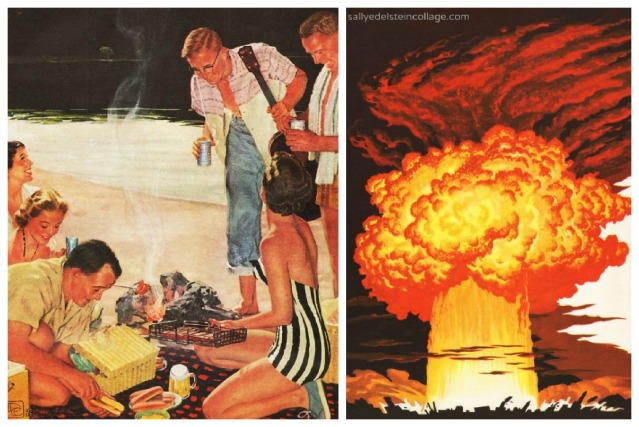 (L)Vintage Ad Beer belongs 1950s (R) Vintage illustration Atom Bomb blast