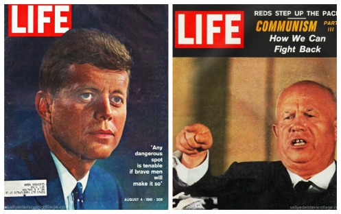 vintage Life magazine Covers JFK and Krushchev