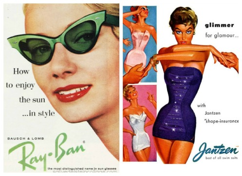 vintage illustration 1950s woman swimsuit by illustrator Pete hawley, midcentury woman in Ray ban sunglasses 11960