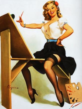 vintage illustration Gil Evgren pinup 1958
