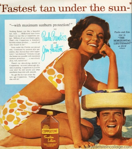 1960s Retro as with actress paula Prentiss & jim hutton in bathing suits on beach