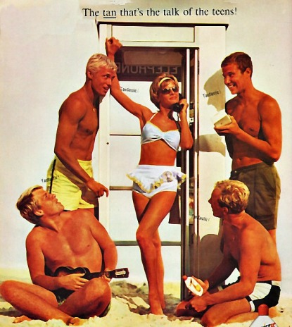 retro teens in 1960s bathing suits tanning
