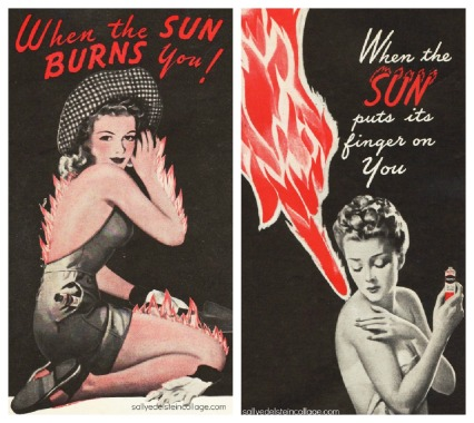 sunburn ad vintage illustration
