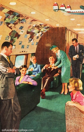 vintage illustration airplane interior stewardess 1950s