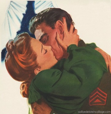 Vintage Illustration WWII soldier kissing girl