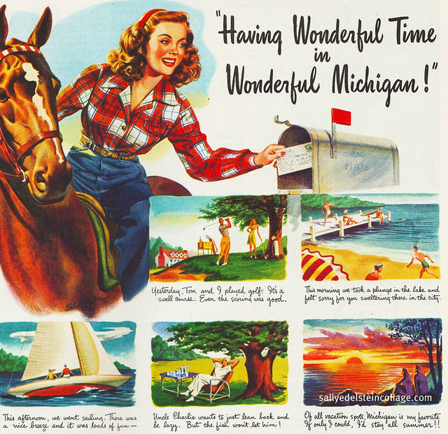 Vintage Illustration travel Ad having a wonderful time in Michigan