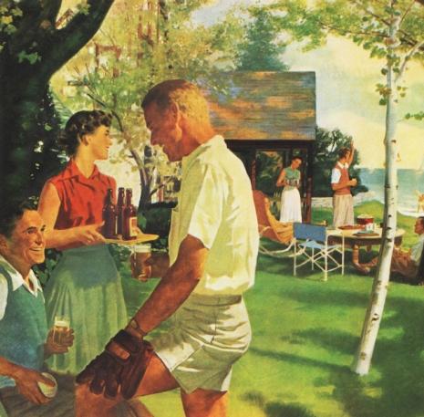 Vintage illlustration American suburbanites athome 1950s