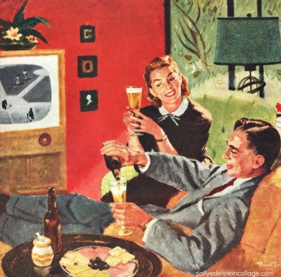 Vintage illustration Pruett Carter 1950s couple watching TV