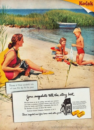 vintage ad 1950s family on beach with camera