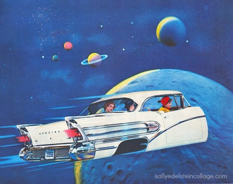 vintage image 1950s car in outer space