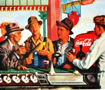 vintage coca cola ad farmer at soda counter 1940s
