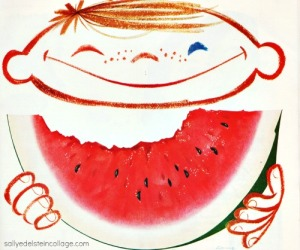 Vintage illustration art &Advertising little boy eating watermelon 1950s