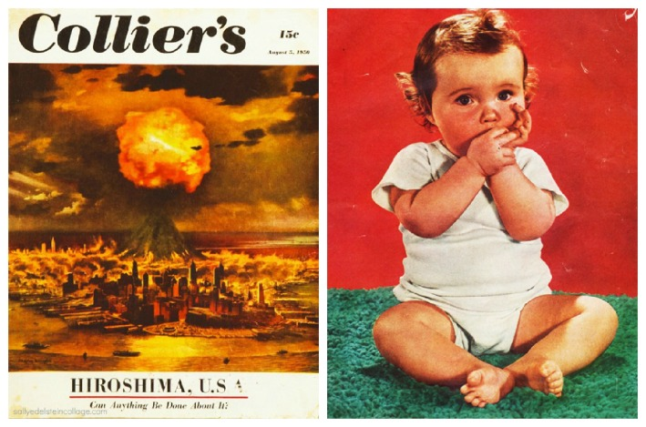 Vintage Magazine Cover illustration Atom Bomb explodes NYC 1950