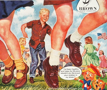 Vintage illustration school children shoes 1950s