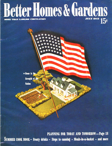 Vintage magazine illustration home and flag ww2