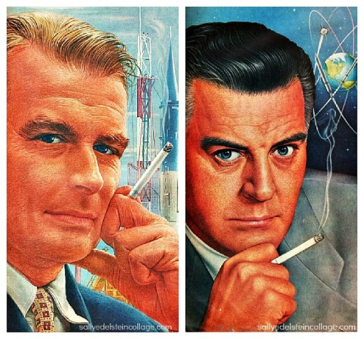 vintage ad illustration men smoking 1950s
