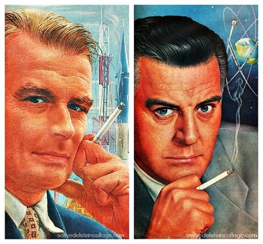 vintage ad illustration men smoking 1950s
