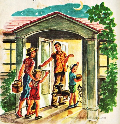 Vintage Illustration childrens book 1950s family