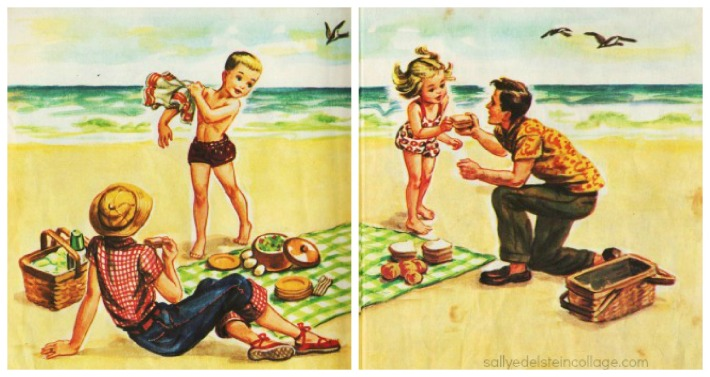 Vintage illustration 1950s family on beach
