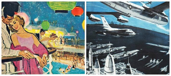 Vintage illustrations Missiles Cold war