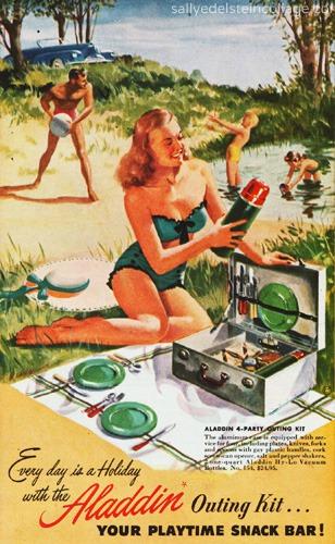 vintage illustration family picnic 1948