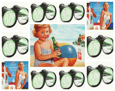 Vintage Ads 7 Up 1950s, L&M cigarette ad binoculars