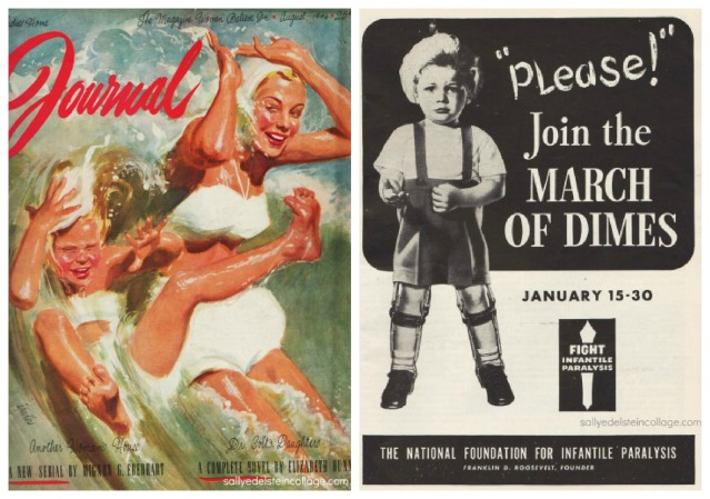 Vintage magazine illustration Al Paker mother and daughter swimming; vintage March of Dimes Poster
