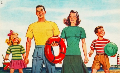 Vintage illustration family at beach 1946