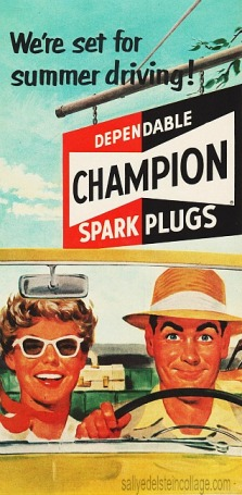 Vintage illustration ad1950s couple in car