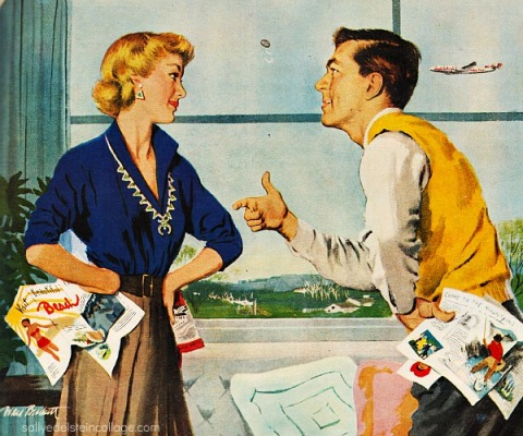 Vintage srt & Advertising illustration 1950s man and housewife
