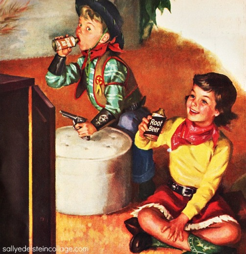 vintage ad illustration children dressed as cowboys watching TV 1950s
