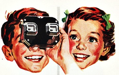vintage illustration boy & girl with viewmaster
