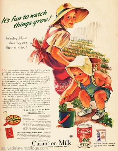 vintage art & advertising ww2 mother and child garden